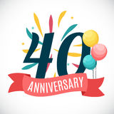 Anniversary 35 Years Template with Ribbon Vector Illustration. EPS10r Stock Photo