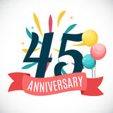 Anniversary 45 Years Template with Ribbon Vector Illustration. EPS10r Stock Photo
