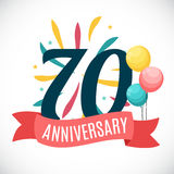 Anniversary 70 Years Template with Ribbon Vector Illustration Stock Photos