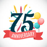 Anniversary 75 Years Template with Ribbon Vector Illustration Stock Image