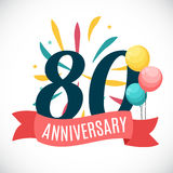 Anniversary 80 Years Template with Ribbon Vector Illustration. EPS10r Stock Image