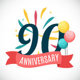 Anniversary 90 Years Template with Ribbon Vector Illustration. EPS10r Royalty Free Stock Photo