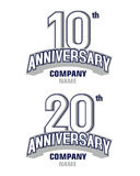 Anniversary 10 years and 20 years. Anniversary logo vector, 10 years anniversary pictogram vector icon, 10th year birthday logo label, black and white stamp stock illustration
