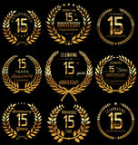Anniversaryretro laurel wreath collection, 15 years. Anniversary golden laurel wreath collection, 15 years Stock Photography