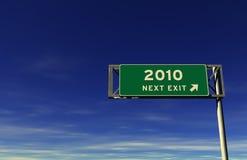 Anno 2010 del segno dell'uscita di autostrada senza pedaggio Immagine Stock