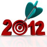 Anno 2012 con la freccia nel Bulls-Eye dell'obiettivo Fotografie Stock Libere da Diritti