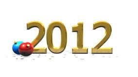 Anno 2012 con le bagattelle rosse e blu Fotografie Stock Libere da Diritti
