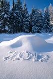 Anno 2012 scritto in neve Fotografia Stock