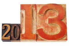 Anno 2013 nel tipo di legno Immagini Stock Libere da Diritti