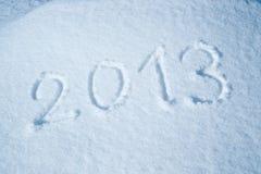 Anno 2013 scritto nella neve Fotografia Stock Libera da Diritti