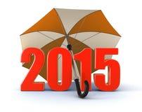 Anno 2015 sotto l'ombrello (percorso di ritaglio incluso) Fotografie Stock Libere da Diritti