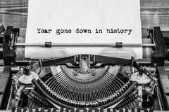 Anno andato giù nella storia, testo fotografie stock