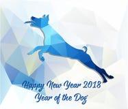 Anno cinese felice della carta del nuovo anno 2018 di cane fotografia stock