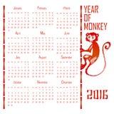 Anno civile rosso della scimmia 2016 Fotografia Stock Libera da Diritti