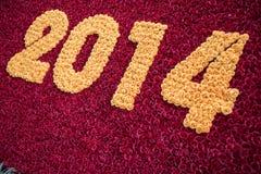 Anno 2014 con i fiori Fotografia Stock Libera da Diritti