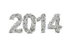 Anno 2014 con le banconote del dollaro Fotografia Stock