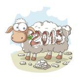 Anno del fumetto di vettore delle pecore 2015 Fotografia Stock