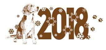 Anno del modello di vettore del cane 2018 per progettazione Immagine Stock Libera da Diritti