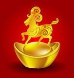 Anno della capra cinese dello zodiaco della capra su fondo rosso Immagini Stock Libere da Diritti