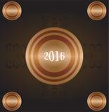 Anno della scimmia 2016 - cartolina d'auguri dell'oro lettera del nuovo anno su uno stile di lerciume Fotografie Stock Libere da Diritti