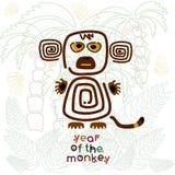 Anno della scimmia, illustrazione etnica Fotografie Stock