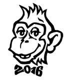 2016 - anno della scimmia Scimmia sorridente con il vect 2016 del farfallino Fotografie Stock Libere da Diritti