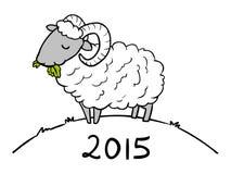 Anno dello scarabocchio delle pecore per 2015 Immagine Stock