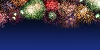 Anno di anni dell'insegna dello spazio della copia del copyspace dei fuochi d'artificio di notte di San Silvestro fotografie stock