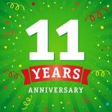11 anno di anniversario di logo di carta di celebrazione royalty illustrazione gratis