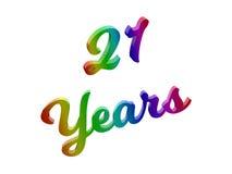21 anno di anniversario, la festa 3D calligrafico ha reso l'illustrazione del testo colorata con la pendenza dell'arcobaleno di R Fotografia Stock Libera da Diritti