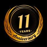 11 anno di anniversario Progettazione elegante di anniversario undicesimo logo illustrazione vettoriale