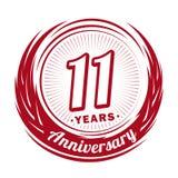 11 anno di anniversario Progettazione elegante di anniversario undicesimo logo illustrazione di stock