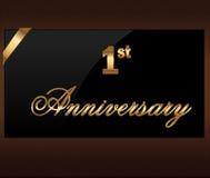 1 anno di etichetta dorata di anniversario decorativo con il nastro - vector l'illustrazione illustrazione vettoriale