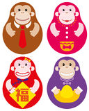 Anno di insieme russo della bambola della scimmia Immagini Stock