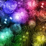 Anno f variopinta quadrata di anni del fondo dei fuochi d'artificio di notte di San Silvestro royalty illustrazione gratis