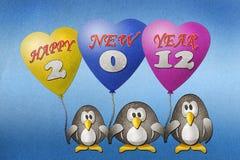 Anno felice 2012 dei pinguini nuovo Fotografie Stock Libere da Diritti