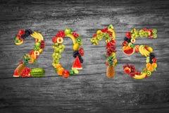 Anno felice di frutti, frutta fresca naturale, ecologia Immagini Stock