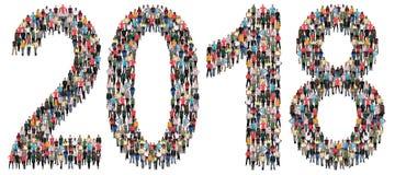 Anno gruppo di persone di vigilia del ` s da 2018 nuovi anni Immagini Stock Libere da Diritti
