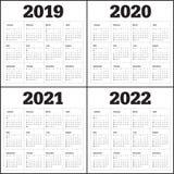 Anno 2019 2020 2021 modello di progettazione di vettore di 2022 calendari illustrazione vettoriale