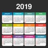 Anno 2019 Modello di vettore del calendario royalty illustrazione gratis