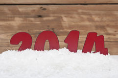 Anno 2014 in neve fresca Immagine Stock Libera da Diritti