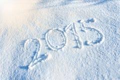 Anno 2014 scritto in neve Fotografia Stock Libera da Diritti
