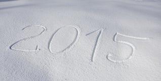 Anno 2015 scritto sopra neve Fotografie Stock Libere da Diritti