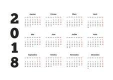Anno semplice del calendario del 2018 nella lingua francese Immagini Stock