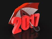 Anno 2017 sotto l'ombrello Fotografia Stock