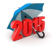 Anno 2015 sotto l'ombrello (percorso di ritaglio incluso) Immagini Stock