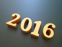Anno 2016, un legno dell'oro del numero 2016 su fondo nero, buon anno 2016, fondo del buon anno per il nuovo anno festivo, gree Fotografie Stock Libere da Diritti