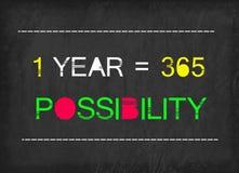 1 anno = una parola di 365 possibilità Fotografia Stock