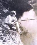 Annoiato con pesca fotografie stock libere da diritti