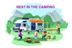 Annonçant l'affiche est écrit le repos dans le camping illustration libre de droits